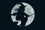 befana sulla scopa con luna