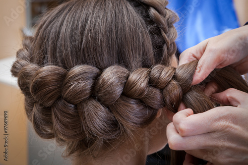 Fototapeta weaving braids brunette
