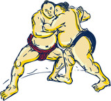 Japanese Sumo Wrestler Wrestling Drawing