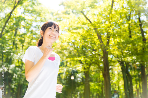 Fotobehang Hardlopen young asian woman jogging image
