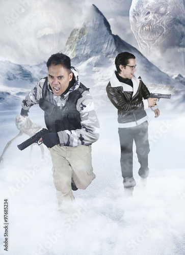 Alien invasion - two soldiers running Poster