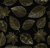 Fall autumn gold leaf concept seamless pattern