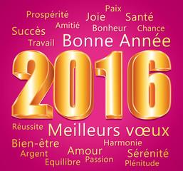 2016. Carte de vœux rose et or. Bonne année et meilleurs vœux.