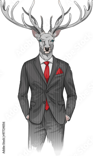 Fototapety, obrazy : man with deer's head dressed in a suit
