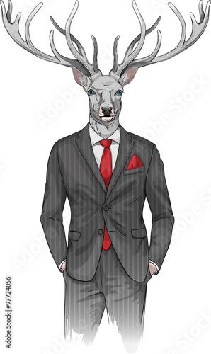 Zdjęcia na płótnie, fototapety na wymiar, obrazy na ścianę : man with deer's head dressed in a suit