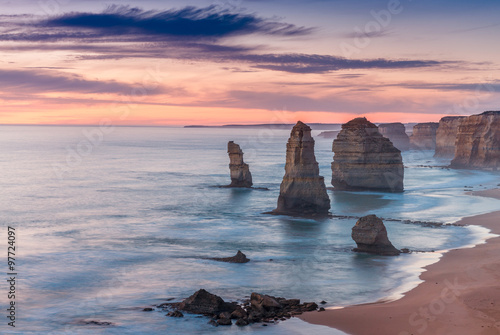 Stunning sunset view of Twelve Apostles, Great Ocean Road - Vict Poster