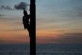 Volador de Papantla sube a lo alto del tronco para iniciar su tradición.