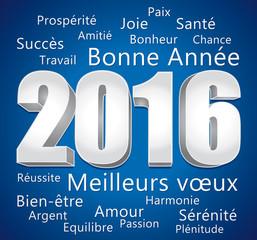 2016. Carte de vœux bleue et argent. Bonne année et meilleurs vœux.