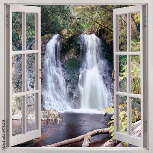 Open window view to Hogarth Falls, Tasmania