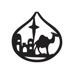 Adoration of the Magi silhouette icon vector illustration