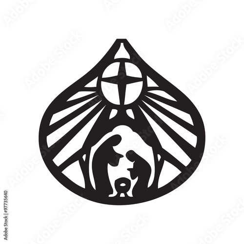 Holy family Christian silhouette icon vector illustration on whi