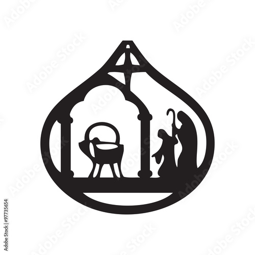 Adoration of the Magi silhouette icon vector illustration on bla