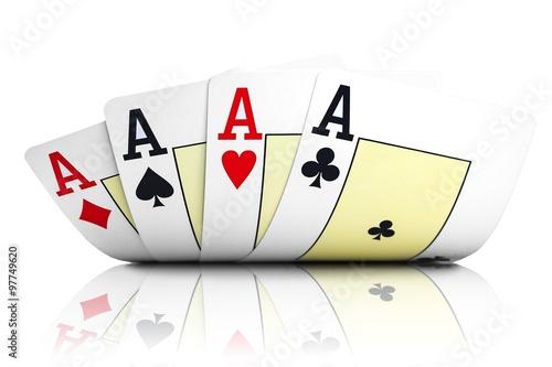 Poster Vier Asse - Pokerkarten auf weiß isoliert mit Spiegelung
