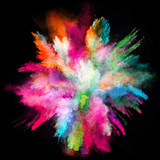 Fototapety Launched colorful powder on black background