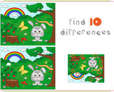 Color by number educational game for kids. Forest glade with a h