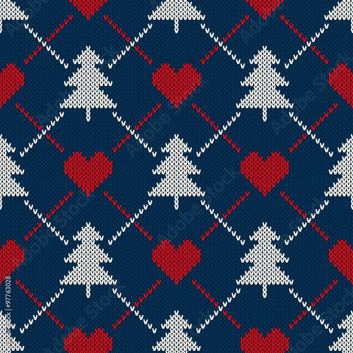 Cotton fabric Winter Holiday Sweater Design. Seamless Knitted Pattern