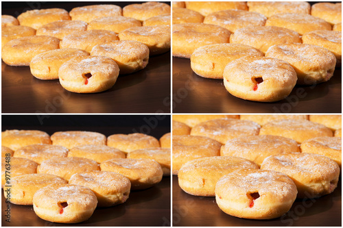 Group of fresh baked cinnamon donuts and raspberry jam with a multiple ...
