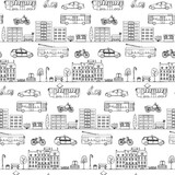Seamless pattern with hand drawn city street elements