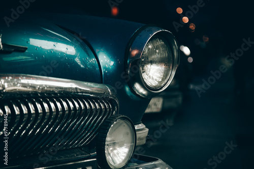 Poster, Tablou Headlight of old car