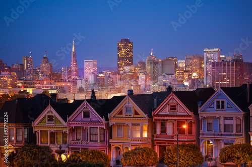 Painted ladies and illuminated San Francisco Poster