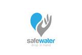 Water drop in Hand Logo design vector. Save aqua waterdrop - 97802882