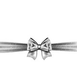 Fototapety Silver bow on white background