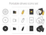 Fototapety Portable drives icons set