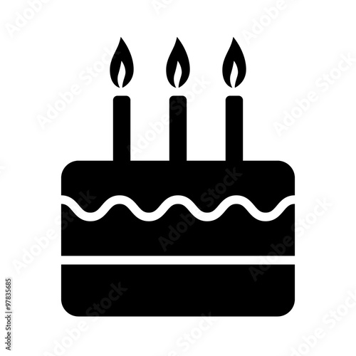 Birthday celebration cake with candles flat icon for apps and websites