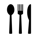 Fototapety Dining silverware flat icon with spoon, knife and fork