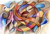 Abstract artwork with different shapes and lines