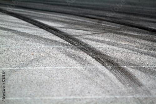 Foto op Plexiglas F1 Tire marks on road track