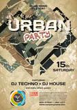 Vector night party urban invitation. Vector template graphic