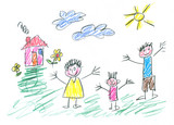 Drawing made by a child, happy family in the countryside