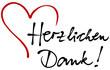 """Schwarze Handschrift """"Herzlichen Dank!"""" mit roter Herz-Zeichnung / Vektor, freigestellt"""