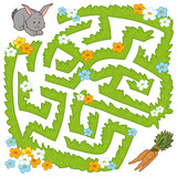 Fototapety Maze game: help bunny get to the carrot
