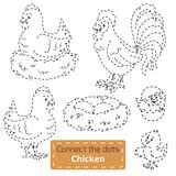 Connect the dots (farm birds set, chicken family)