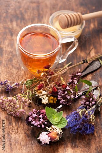 Herbal tea with honey and medicinal herbs Poster
