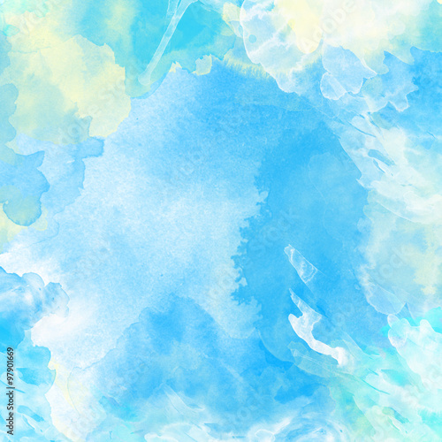 Watercolor painted background in light blue and white - 97901669