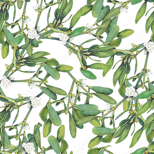 Cotton fabric Seamless background with green Christmas mistletoe holly branches. Original watercolor hand drawn pattern.
