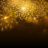 Fototapety Festive firework bursting in various shapes and golden colors sparkling against black night background. Abstract vector illustration.