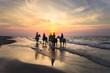 Jeźdźcy na koniach jadący brzegiem morza o zachodzie słońca