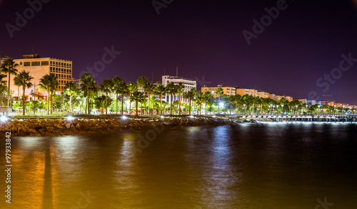 Staande foto Cyprus Seaside in Limassol at night - Cyprus