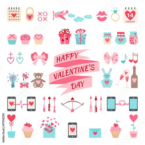 Valentine's flat elements for your design. © Aleksandra Mikhailec