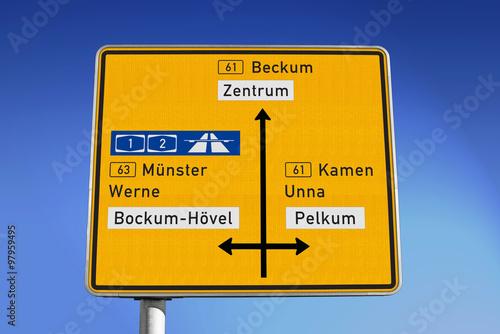 Poster Wegweiser: Hafenstraße in Hamm/Westf.