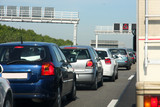 cars in traffic jam on highway, in Germany