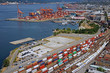 Busy seaport with container trains