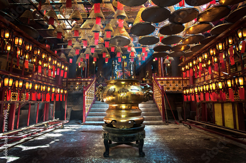 Inside the main hall of Man Mo Temple, Sheung Wan, Hong Kong Poster