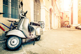 Vespa Scooter in Italian Street, Wide-Angle Lens