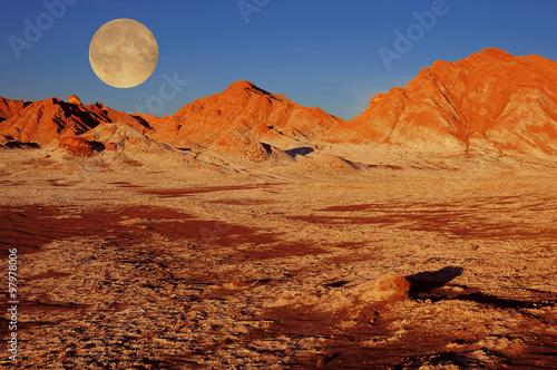 Poster Oranje eclat Moon valley in Atacama desert.