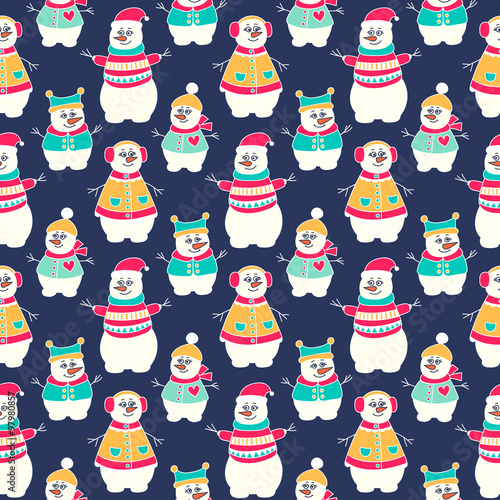 Materiał do szycia Snowman winter seamless pattern. Hand drawn doodle snowmen family. Bright colors - red, yellow, green and white.